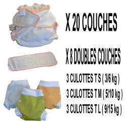Confort Pack  0-3 ans, 20 couches lavables Lulu Bambou - 3 x 3 Lulu Boxer - mixte